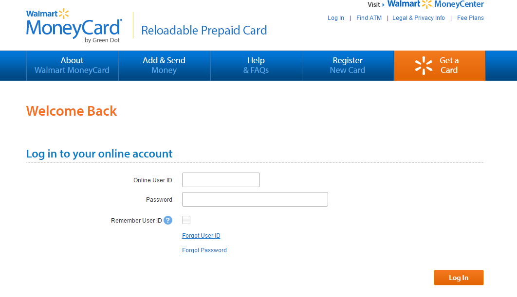Walmart Money Card (PrepaidReloadable) Login