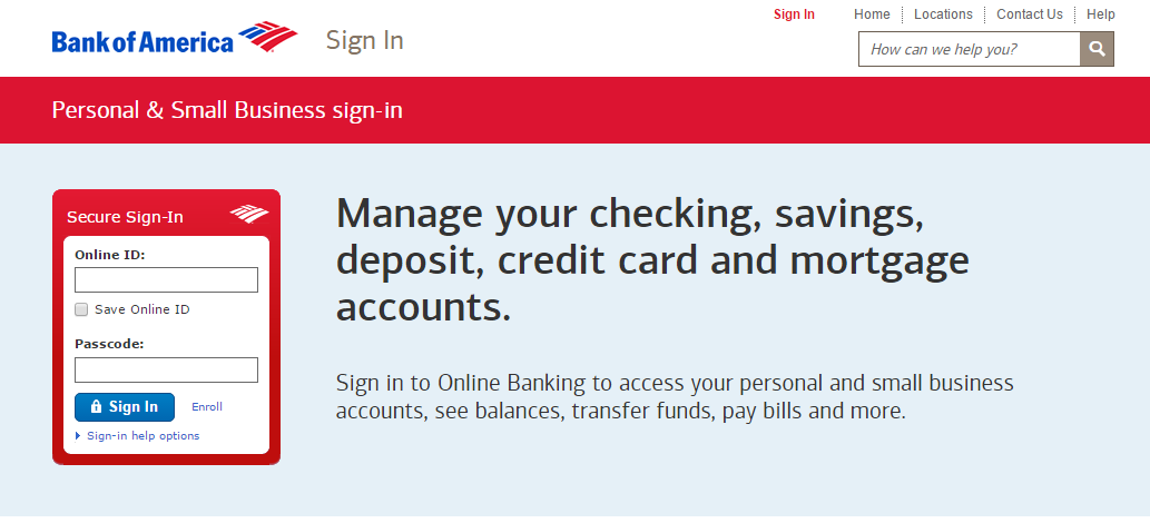 Bank of america credit card online login