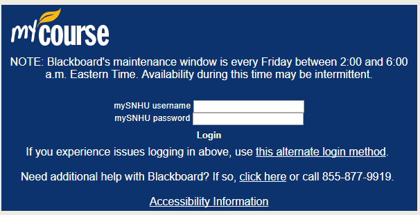 Log into SNHU Blackboard