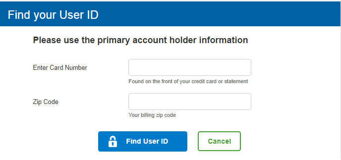 Sam's Club Credit Card Find User ID