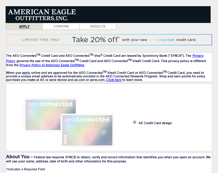 Apply for an AEO Credit Card