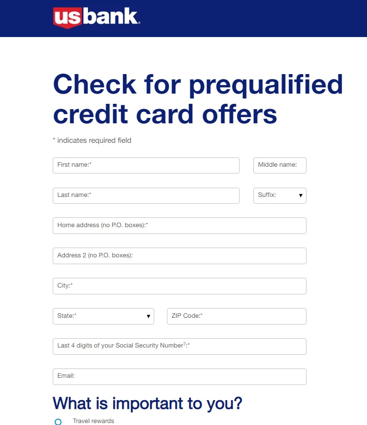 Accept a U.S. Bank Pre-Approved Credit Card Offer