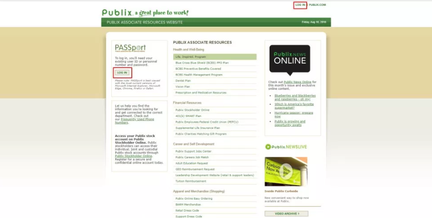 How to Log into Publix Oasis Passport
