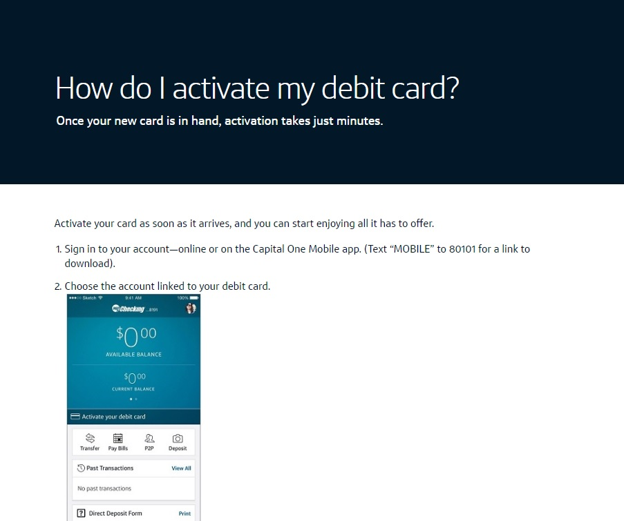 Activate Capital One Debit Card