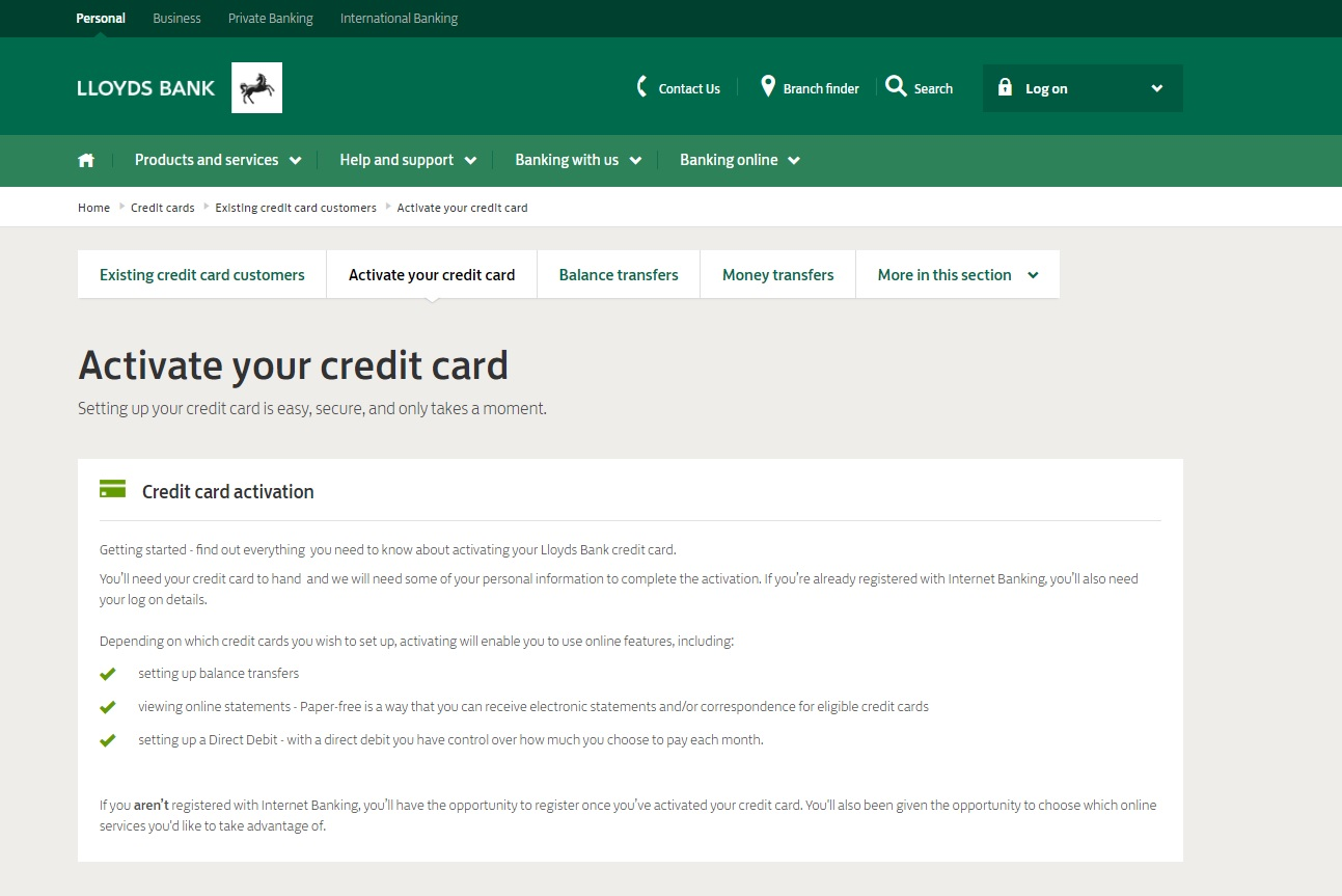 How do I Activate My Lloyds Credit Card