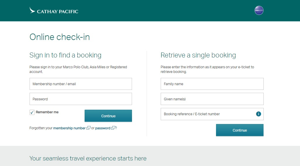 Cathay Pacific Online Check In