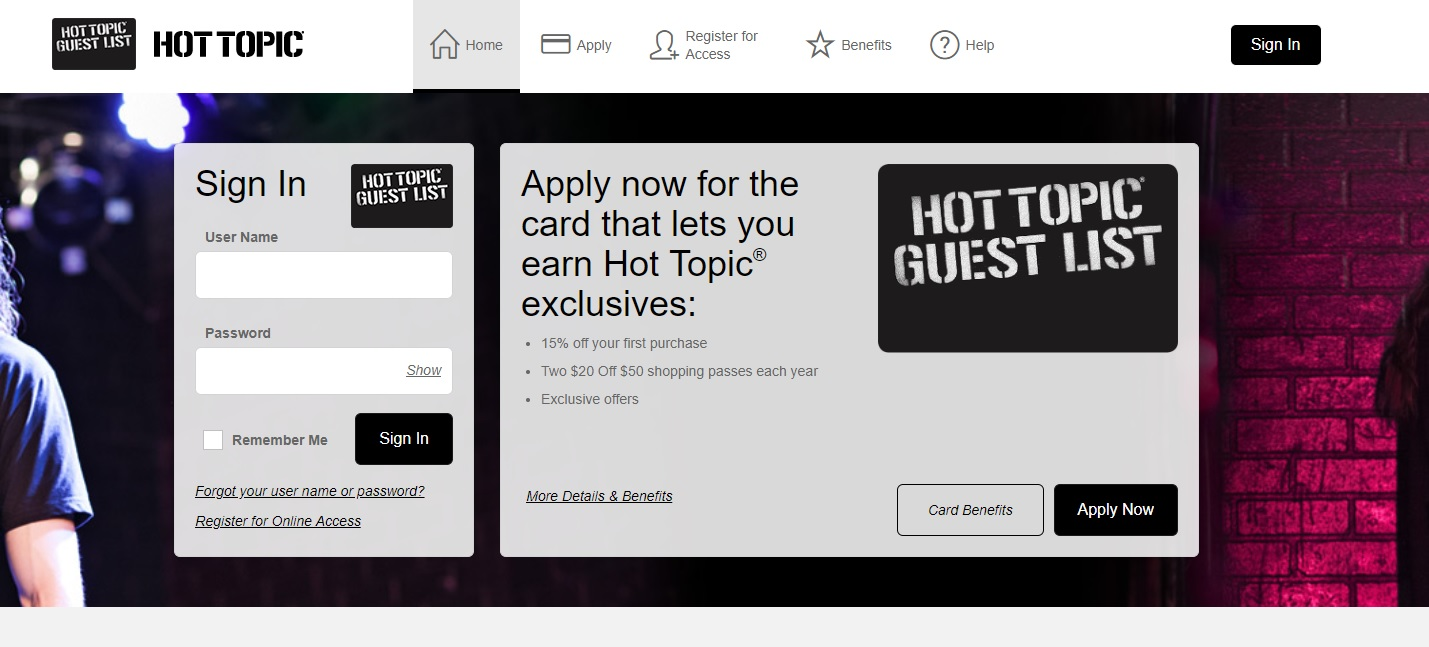 Hot Topic Credit Card Application