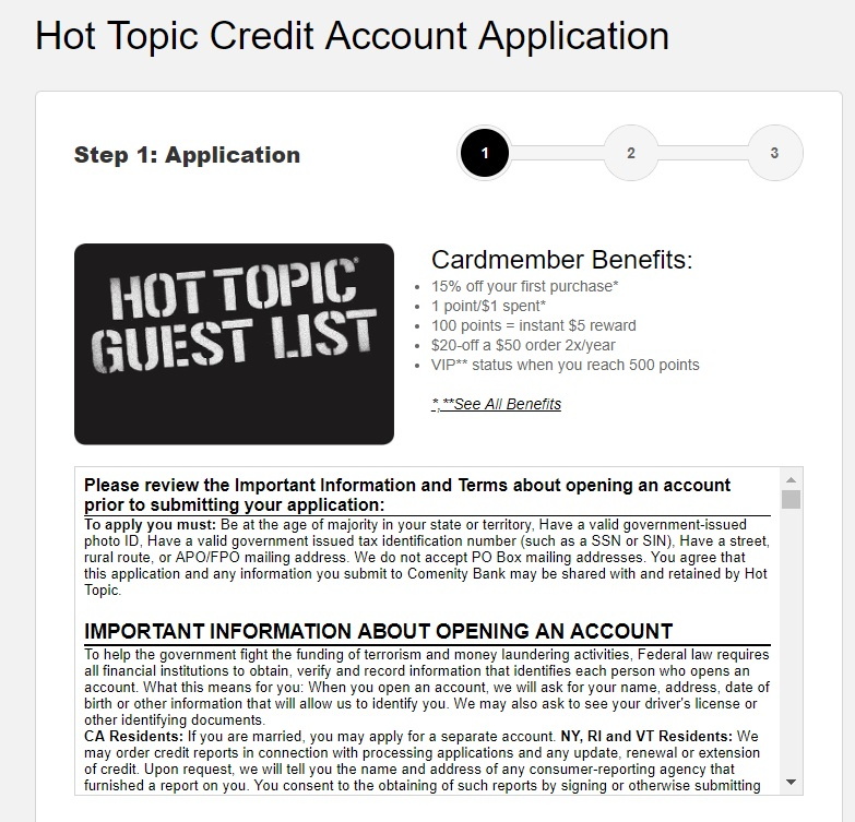 Hot Topic Credit Card Sign In