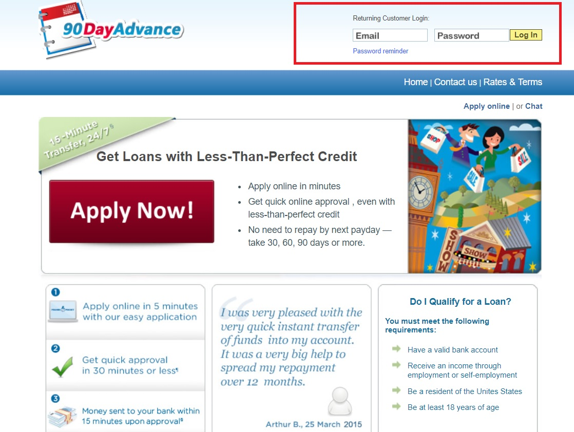 90 Day Advance Loan Payment