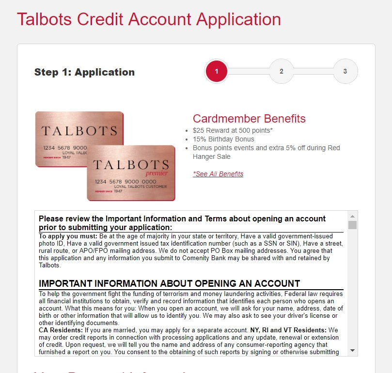 Talbots Credit Card Application