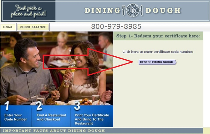 How to Redeem Dining Dough Certificate