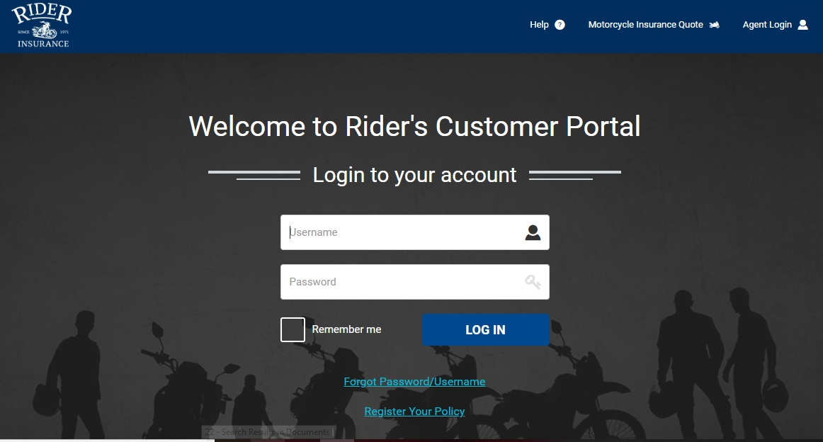 Rider Motorcycle Insurance Login