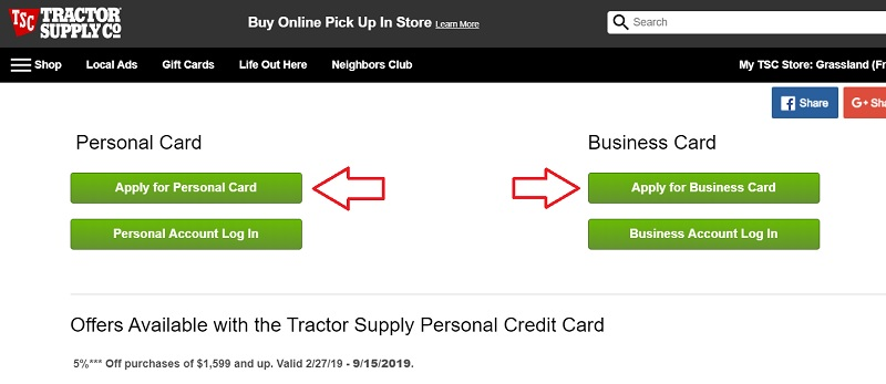 Tractor Supply Credit Card Application